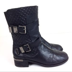 Vince Camuto Black Mid Calf Moto Boots 10 - N692 &